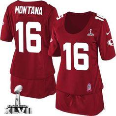 Nike San Francisco 49ers NFL #16 Joe Montana Game  Red Breast Cancer Awareness Women's Super Bowl XLVII Jersey