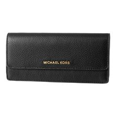 Michael Kors 32F6GBFE1L-001 Women's Bedford Flap Black Leather Continental Carryall Wallet