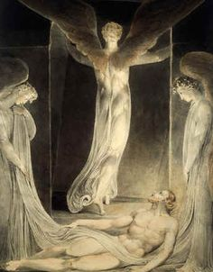 William Blake, Angels Rolling away the Stone from the Sepulchre, 1805. An unusual view from inside the tomb.