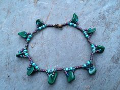 Malachite Beaded Anklet with Antique Brass Clasp