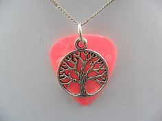 Fender pink guitar pick necklace with tree of life charm