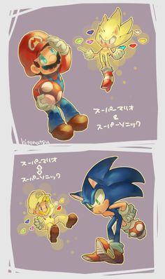 """Hitonatsu: """"Super mario ← → Super Sonic"""""""