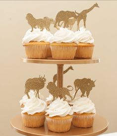 Golden Safari Cupcake Toppers in Gold set of by BestDayEverBashes