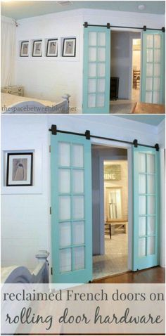 60 DIY Barn Door Projects to Add Some Farmhouse Flair to Your Home The Effective Pictures We Offer You About sliding doors closet A quality picture can tell you many t Interior Sliding French Doors, French Doors Bedroom, Glass French Doors, Interior Barn Doors, Glass Doors, Bedroom Doors, Sliding Glass Barn Doors, Internal Sliding Doors, Diy Sliding Door