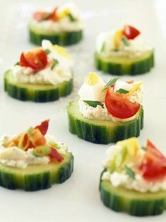 Cucumber-Cheese Bites Set out the cucumbers and toppers and let your guests assemble their own appetizers.