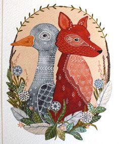 fox watercolor | Animal Watercolor Painting Goose & Fox Painting by RiverLuna, $20.00