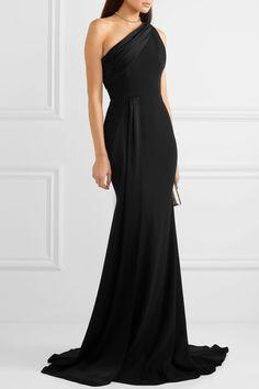 Hollis one-shoulder draped crepe and satin gown#crepe #draped #gown #hollis #oneshoulder #satin Satin Gown, Satin Dresses, Elegant Dresses, Strapless Dress Formal, Formal Gowns, Simple Dresses, Pretty Dresses, Alex Perry, Olivia Culpo