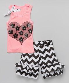 Another great find on #zulily! Pink & Black Heart Tank & Ruffle Shorts - Toddler & Girls #zulilyfinds