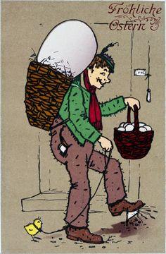 """""""Fröhliche Ostern"""", Mann mit Riesenei in einer Butte, einem Korb voll Eiern und einem Küken an der Leine. Um 1910. Farblithographie"""