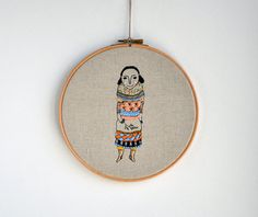 Layer Girl - mixed media embroidery wall hanging art - 8 inch via Etsy.