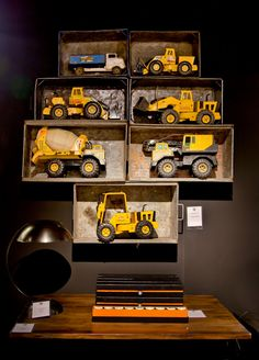 good way to display grandpa& old tonka& Car Bedroom, Kids Bedroom, Bedroom Ideas, Construction Nursery, Tonka Toys, Tonka Trucks, Ideas Dormitorios, Big Boy Bedrooms, Toddler Rooms