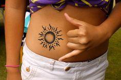 tribal sun tattoo, like the fade in on the sun