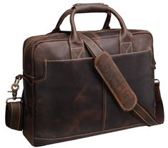 9a029e8382ce Iswee Crazy Horse Cowhide Leather Durable Shoulder Briefcase