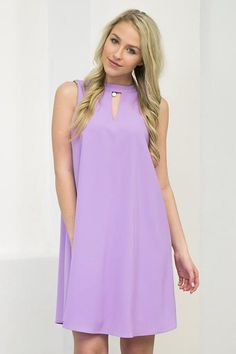 Want something sweet and just in time for Spring? Then this lovely lilac dress is sure to be the thing! This fully lined dress features a mock neck and teardrop back. I just love the color of this one
