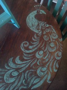 peacock stencil on a table