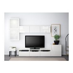 IKEA - BESTÅ, TV storage combination/glass doors, white/Selsviken high-gloss/white frosted glass, drawer runner, soft-closing, , The drawers and doors close silently and softly, thanks to the integrated soft-closing function.Three large drawers make it easy to keep remote controls, game controlers and other TV accessories organized.It's easy to keep the cords from your TV and other devices out of sight but close at hand, as there are several cord outlets at the back of the TV bench.The…
