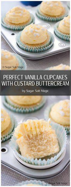 Perfect Vanilla Cupcakes Custard Buttercream - One bowl, moist and fluffy vanilla cupcakes with a smooth custard buttercream. via @sugarsaltmagic