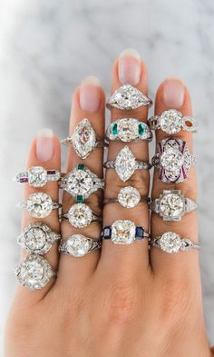Vintage Engagement Rings in styles you can't even imagine! From antique cushion cut diamonds with sapphire accents to old European cut diamonds in Art Deco settings to moval diamonds! Unique engagement rings make for your #dreamring!