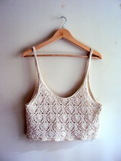 Crochet Cropped Loose Top Tank Halter Boho Top by GrahamsBazaar, $30.00