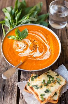 Creamy Tomato Soup with Basil cheese on toast