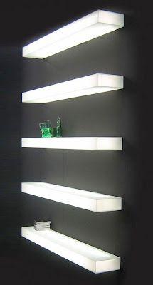 LIGHT-LIGHT Modern Illuminated Wall Mounted Glass Shelf with Light - Wall Shelves - White by GlasItalia | Modern Interior Design