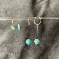 """Amy on Instagram: """"Brilliant blues. Labrodorite so firey Howlite - dyed a lovely turquoise blue #earrings #turquoiseearrings #labrodoritejewelry…"""""""