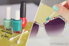 20+ Creative Uses of Nail Polish That You Need to Try --> DIY Painted Sunglasses #craft #nail_polish