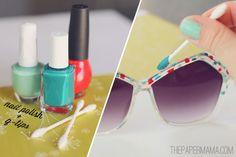 20+ Creative Uses of Nail Polish That You Need to Try --> DIY Painted Sunglasses #craft #nail_polish