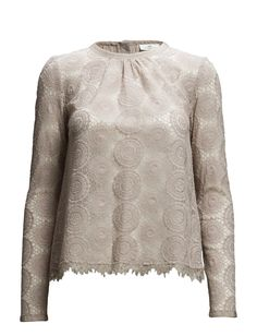 DAY - Day Veneer-Lace Scalloped trim Semi-sheer Slight ruching Long sleeves Back button closure Elegant Romantic Sophisticated Elegant, Day, Blouse, Long Sleeve, Sweaters, Shopping, Tops, Romantic, Button