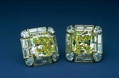 Matching Pair of Ear Clips from the Hooker Starburst-cut Yellow Diamond Jewelry Suite