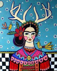 50 off Frida Kahlo Deer Antlers Mexican Folk por HeatherGallerArt