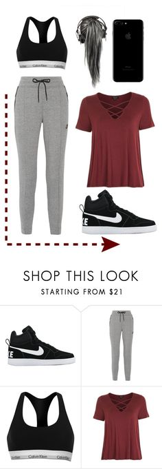 """City jog"" by notgoldielocks ❤ liked on Polyvore featuring NIKE, Calvin Klein and Topshop"