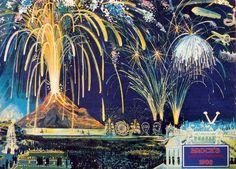 Vintage 4th of July fireworks labels and poster artwork.