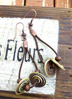 Teardrop brown leather, lamp work glass disks, wood and copper metal earrings. - - McKee Jewelry Designs - 1