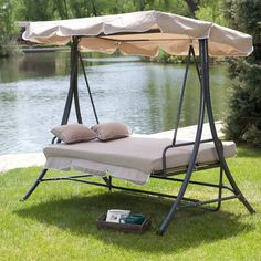 Swing Garden Bed With Toss Pillows 3 Person Canopy Cover Outdoor Patio Furniture