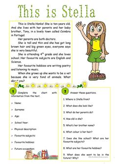 This is Stella! – reading comprehension worksheet – Free ESL printable worksheet… This is Stella! – reading comprehension worksheet – Free ESL printable worksheets made by teachers Grade R Worksheets, English Grammar Worksheets, English Vocabulary, Printable Worksheets, Free Printable, Preschool Worksheets, Preschool Learning, Teaching Math, English Activities
