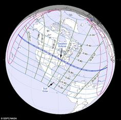 The total eclipse will be visible within a path of darkness stretching from…