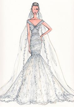 Custom Wedding Gown Illustration FRONTAL by IllustrativeMoments Wedding Illustration, Beauty Illustration, Fashion Illustration Sketches, Fashion Design Sketches, Wedding Dress Sketches, Designer Wedding Dresses, Bridal Gowns, Wedding Gowns, Wedding Clip