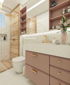 Love that gold, pink, and wood shower Home Room Design, Home Design Decor, Home Interior Design, House Design, Bathroom Design Luxury, Bathroom Design Small, Modern Bathroom, House Rooms, Bathroom Inspiration