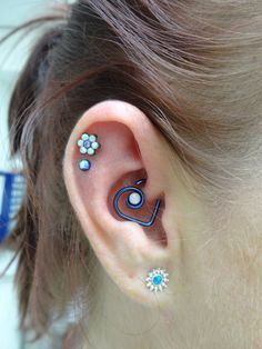 16g fresh daith with My Unbreakable Heart heart blue titanium with white opal by SuzanneOther jewellery allANATOMETAL