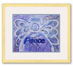Peace Angel Framed Poster Art Print Gold