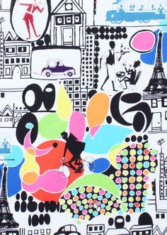 Alexander Henry Fabric - Metro Collection  - Bistro - Brite - Novelty Fabric. $8.25, via Etsy.