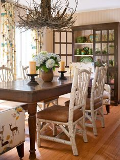 """... stained paneling was painted a soft cream. Lee Jofa """"Deer"""" fabric"""