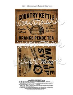 Vintage Country Farmhouse Primitive Prim Labels Digital Download Printable DIY Tags Scrapbook Graphics Collage Sheet Clip Art Retro Images Original design - Labels measure between about 4 and 5 wide - 6 different designs Two labels per 8.5 x 11 sheet - the labels can be resized