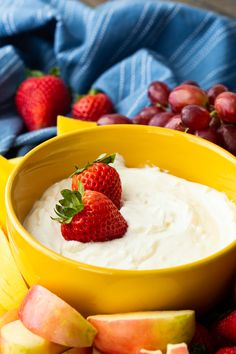 End of the Rainbow Fruit Dip: so creamy and delicious - Easy Peasy Meals Top Recipes, Cooking Recipes, Amazing Recipes, Delicious Recipes, Cooking Tips, Easy Recipes, Vegan Recipes, Easy No Bake Desserts, Dessert Recipes