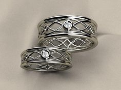 Matching Sterling Silver His and Hers Diamond Celtic Promise Ring by Christopher Michael