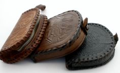 Mexican Hand Tooled Leather Coin Purse Lot of 3 Brown Black Zipper Handmade | eBay