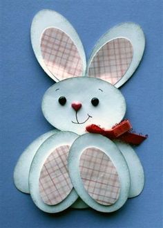 paper craft ... Easter/baby bunny punch art style ... luv the plaid paper ears and paw pads ...