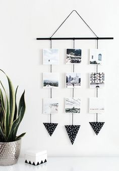 Turn your Instagram photos into a photo wall tapestry. Black and white geometric accents make this hanging wall art a minimalist's dream. Click for more DIY Instagram projects—because your Instagram photos are too pretty to be behind a screen.