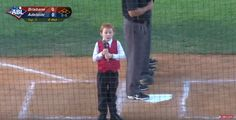 You can even tell by his little face that he knows what's about to happen. | This Kid Got The Hiccups During The National Anthem And It's The Cutest Thing Ever